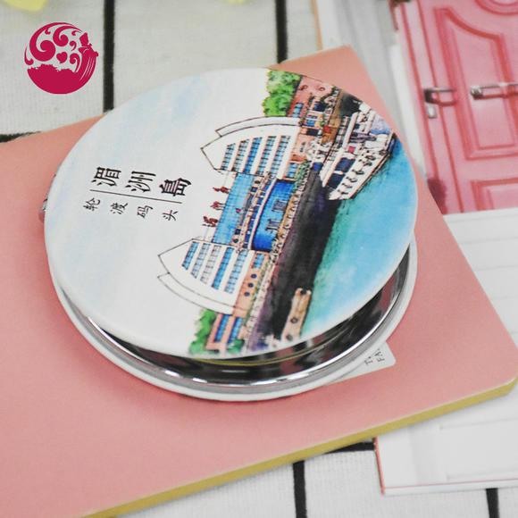 【默娘文创】手绘湄洲码头双面折叠小镜子旅游纪念品