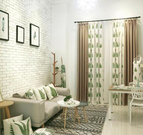 绿色清爽小美北欧风格窗帘定做数码印花餐厅 绿蕨