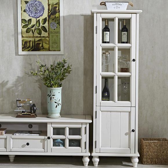 美式实木酒柜白色餐边柜组合门厅展示柜欧式小酒柜客厅多功能高柜