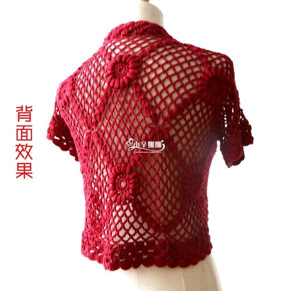 夏天小披肩编织材料包钩织3号蕾丝线镂空花坎肩小衫小