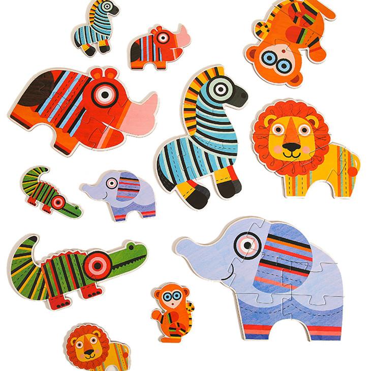第一套: 2-4岁,超大块动物拼图(1盒)   第二套: 2-6岁,思维形状训练