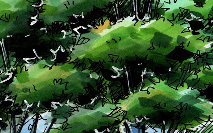 同济大学景观角2手绘临摹作品昆明手绘培训_一行手绘