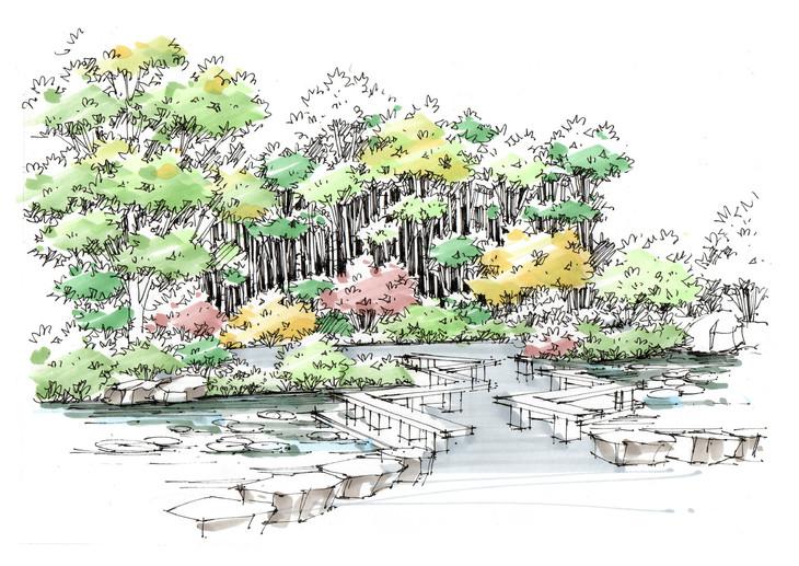上海人民公园景观手绘临摹步骤图杭州手绘培训组