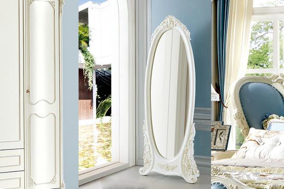 圣莎拉 法式风格 立体雕花边框设计 穿衣镜 镜子 落地