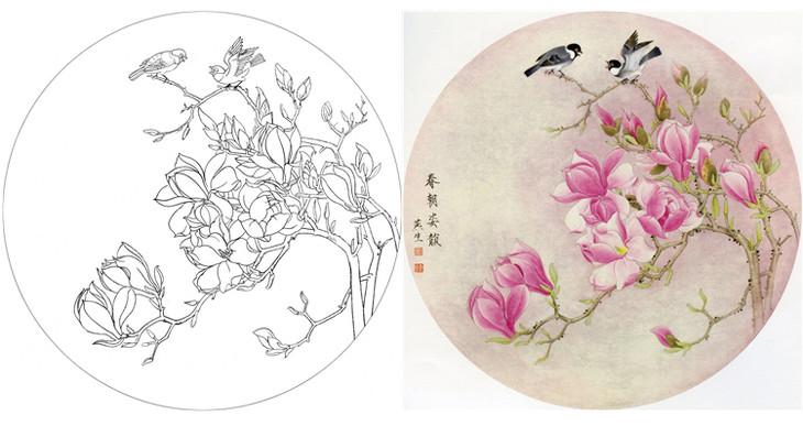 ts30 工笔画团扇白描底稿 国画花鸟临摹勾线实物打印图片