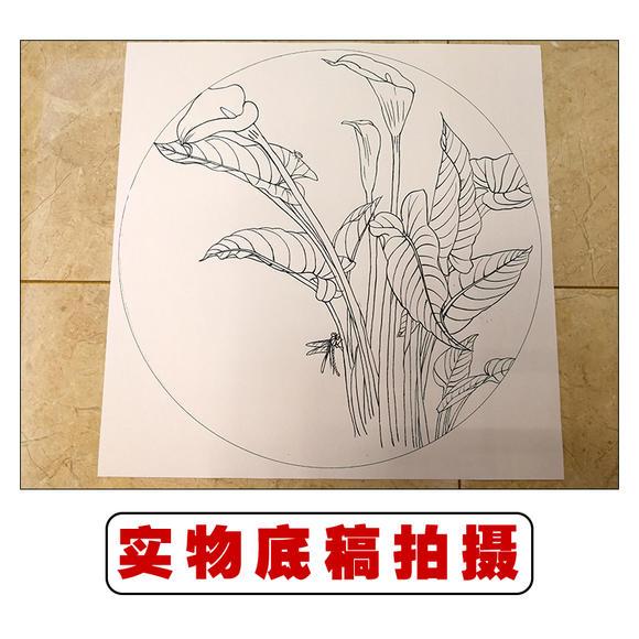 ts18 工笔画团扇白描底稿 国画花鸟临摹勾线实物打印图片