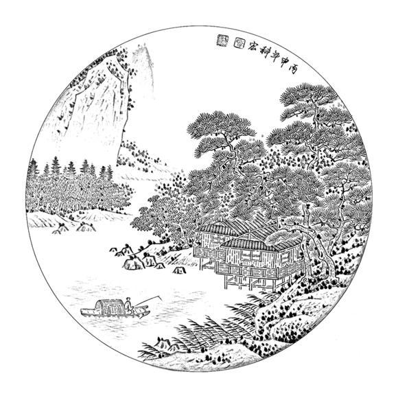 ts36工笔画山水白描底稿白描稿山水人物画花鸟画线描