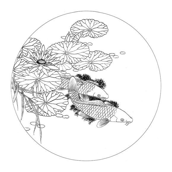 ts46工笔画荷花鲤鱼白描底稿国画花鸟团扇临摹勾线练习素材打印稿图片
