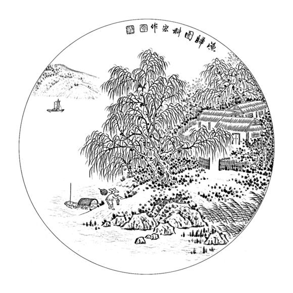 ts44工笔画山水白描底稿临摹练习初学者入门国画花鸟