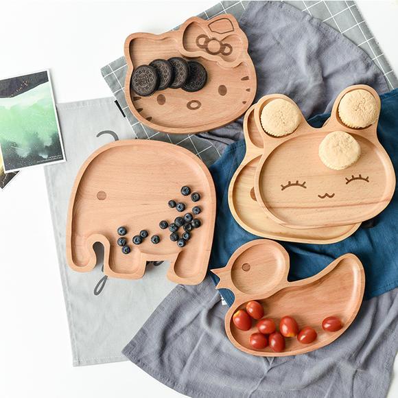橡胶木果盘 卡通动物盘子