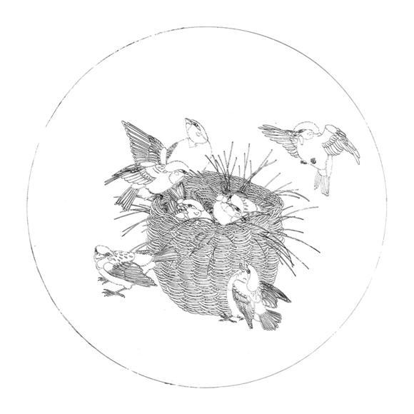 ts47工笔画白描底稿国画花鸟小品团扇线描稿临摹透稿
