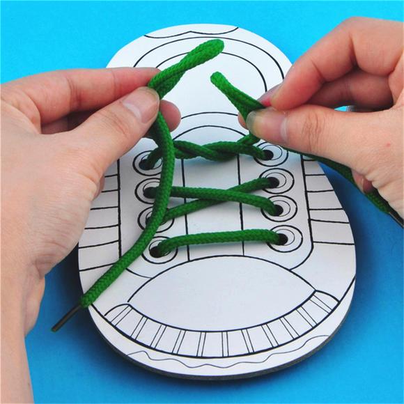 幼儿园课堂手工diy创意手工,穿鞋带材料包
