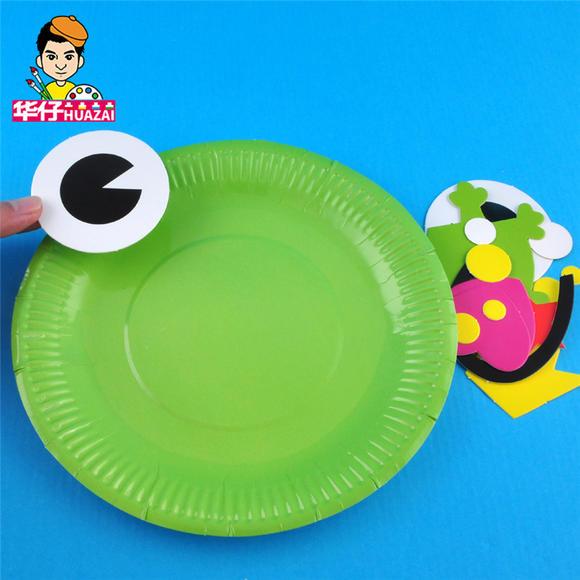 幼儿园课堂手工diy创意手工,纸盘青蛙材料包