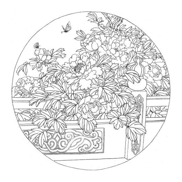 ts66高清工笔画牡丹团扇白描底稿国画花鸟临摹练习素材勾线打印稿
