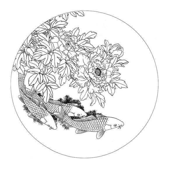 ts77路雨年圆形团扇花鸟牡丹小品工笔国画白描底稿临摹勾线打印稿