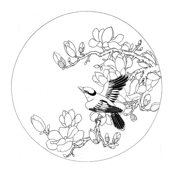 ts90工笔画白描底稿国画花鸟小品团扇线描稿临摹透稿