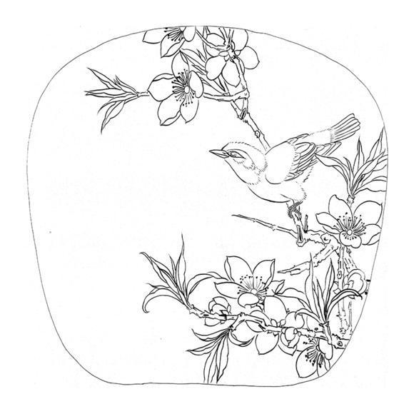 ts73工笔画白描底稿国画花鸟小品扇面线描稿临摹透稿