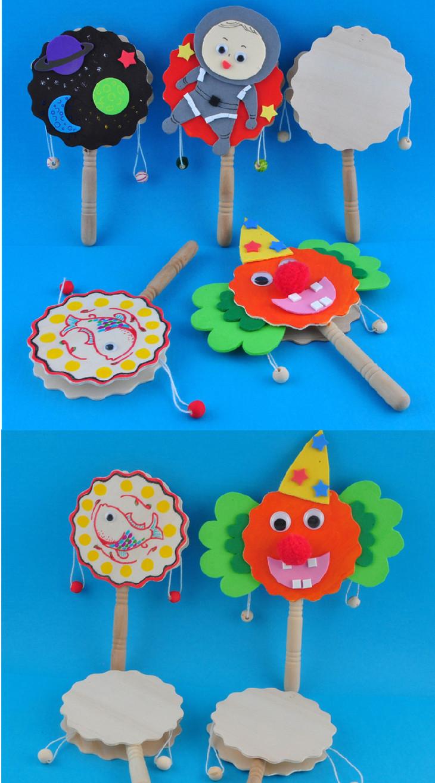 幼儿园课堂手工diy创意手工,本色拨浪鼓材料包