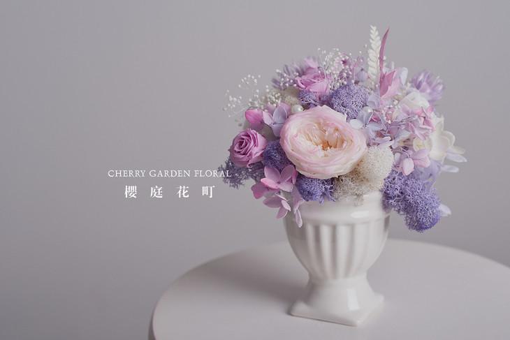 【小确幸】温柔紫优雅永生花樽摆件