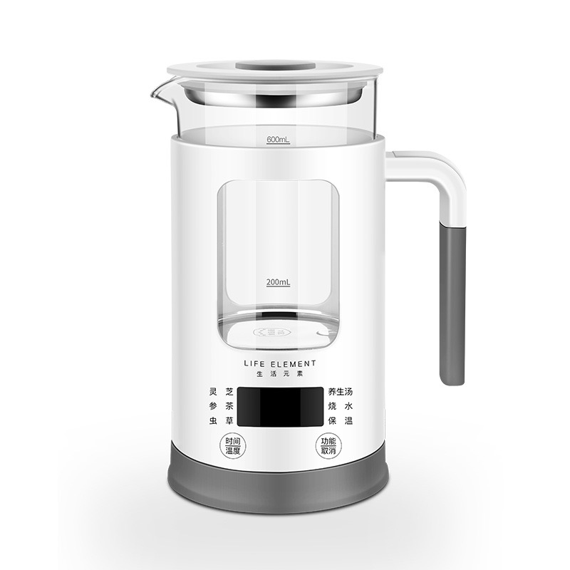 生活元素-I13个人养生壶 全自动加厚玻璃多功能玻璃煮花茶杯煮茶器电热烧水壶600ml 商品图9