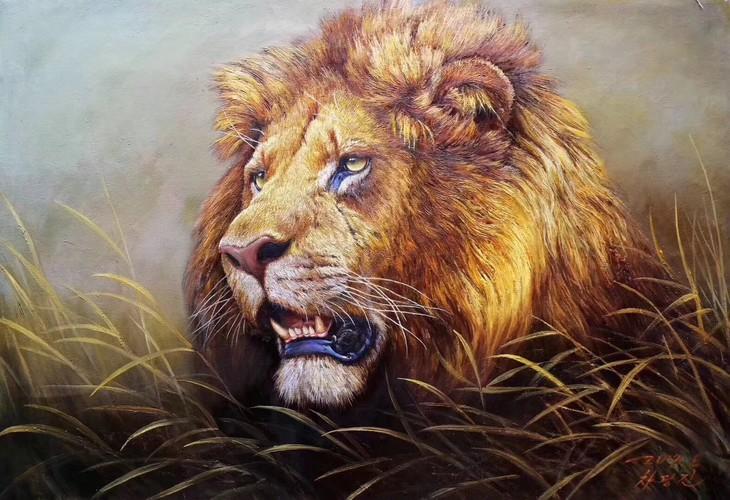 朝鲜油画:狮子图片