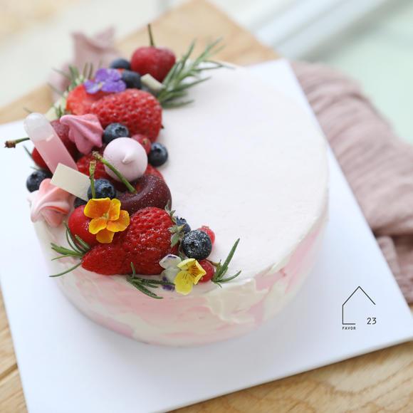 二三研食 树莓蓝莓粉色七夕节私房手工奶油夹心蛋糕定制 厦门同城图片