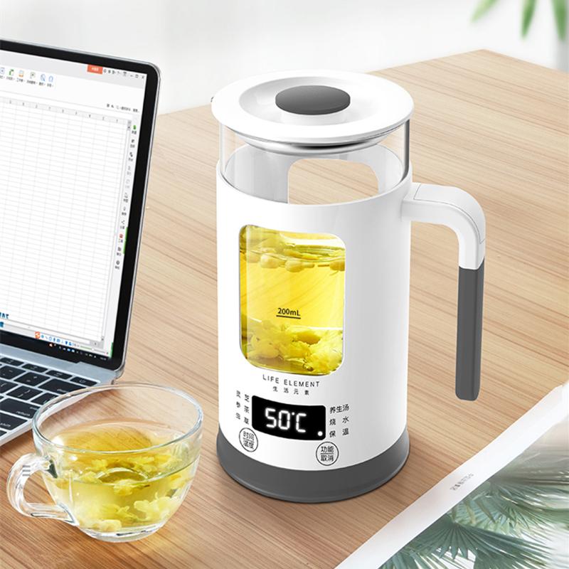 生活元素-I13个人养生壶 全自动加厚玻璃多功能玻璃煮花茶杯煮茶器电热烧水壶600ml 商品图6