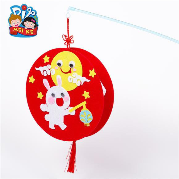 中秋节不织布佳节灯笼diy幼儿园儿童手工玉兔创意卡通