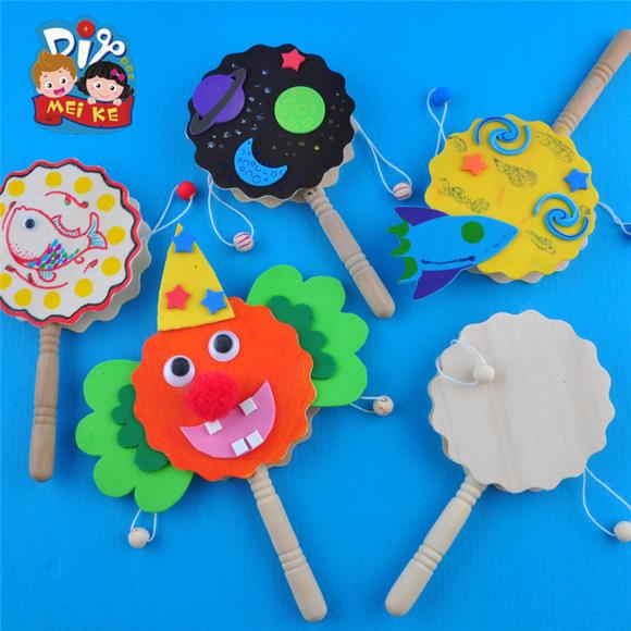 木质拨浪鼓玩具mei ke幼儿园手工制作材料节日立体diy