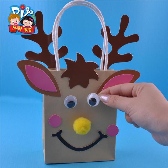 小鹿纸袋 动物礼物袋幼儿创意手工美可diy 儿童节益智