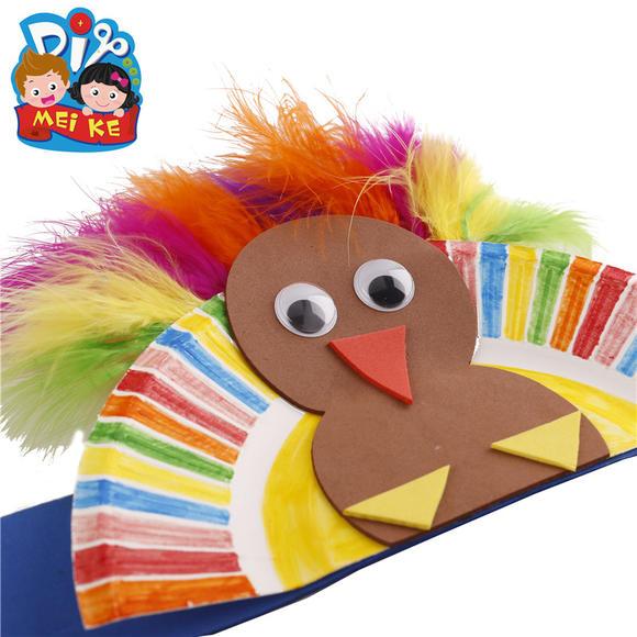 圣诞节手工 火鸡头环羽毛头环儿童手工头环幼儿园手工