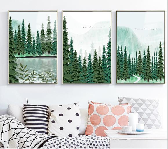 现代简约手绘风景松林山水装饰画高清三联