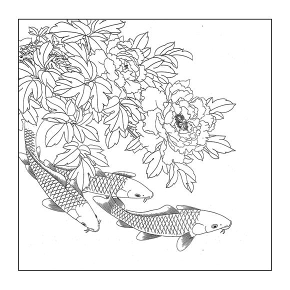 df103路雨年工笔画牡丹鲤鱼白描底稿国画花鸟入门临摹