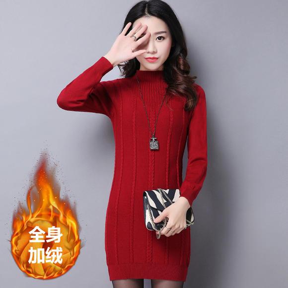 525zy_zy-3742.525a胖mm大码女装2018新款加绒加厚保暖针织