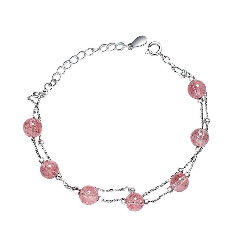 六鑫珠宝 天然草莓晶双层手链 文艺小清新 | 甜美百搭,精致猪猪女孩 商品图1