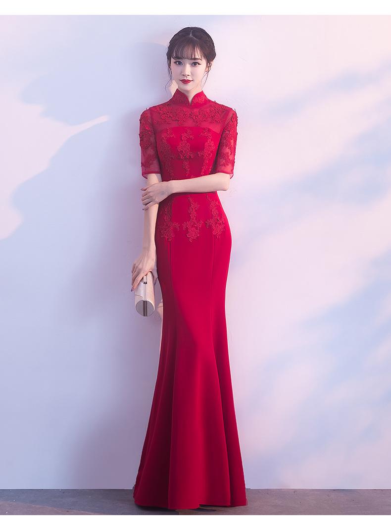 2018冬季新款中式晚礼服长款 结婚修身红色旗袍鱼尾裙