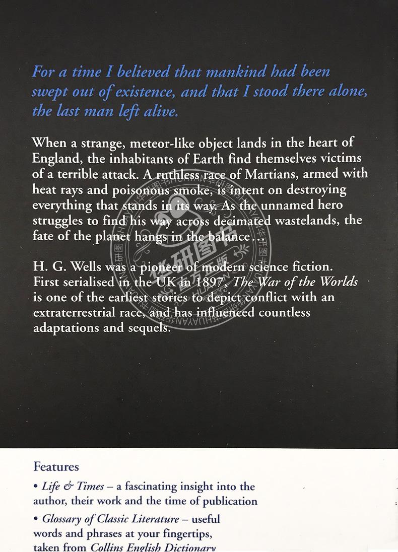 英文版原版小说星际战争The War of the Worlds (Collins