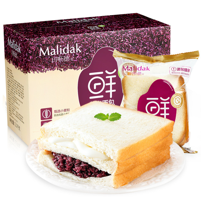 玛呖德 紫米奶酪夹心吐司面包整箱770g/1100g