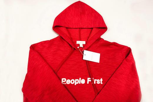 人民网两会记者同款「人民红」People First 帽衫长袖卫衣 竹节棉 男女情侣 商品图5