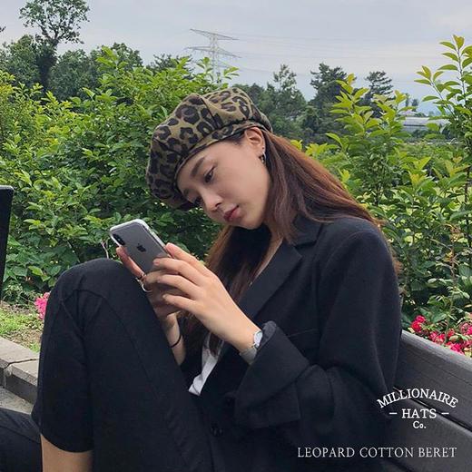 Millionaire Hats韩国设计师品牌个性时尚纯棉豹纹贝雷帽女坏月亮PLUS 商品图1