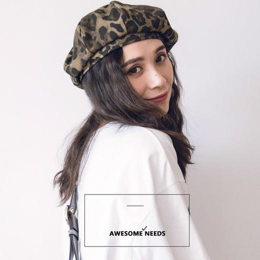 Millionaire Hats韩国设计师品牌个性时尚纯棉豹纹贝雷帽女坏月亮PLUS 商品图3
