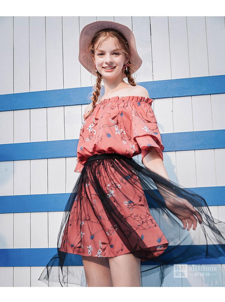 尼班诗2019夏装新款女装显瘦两件套一字肩碎花雪纺连衣裙短裙女霖