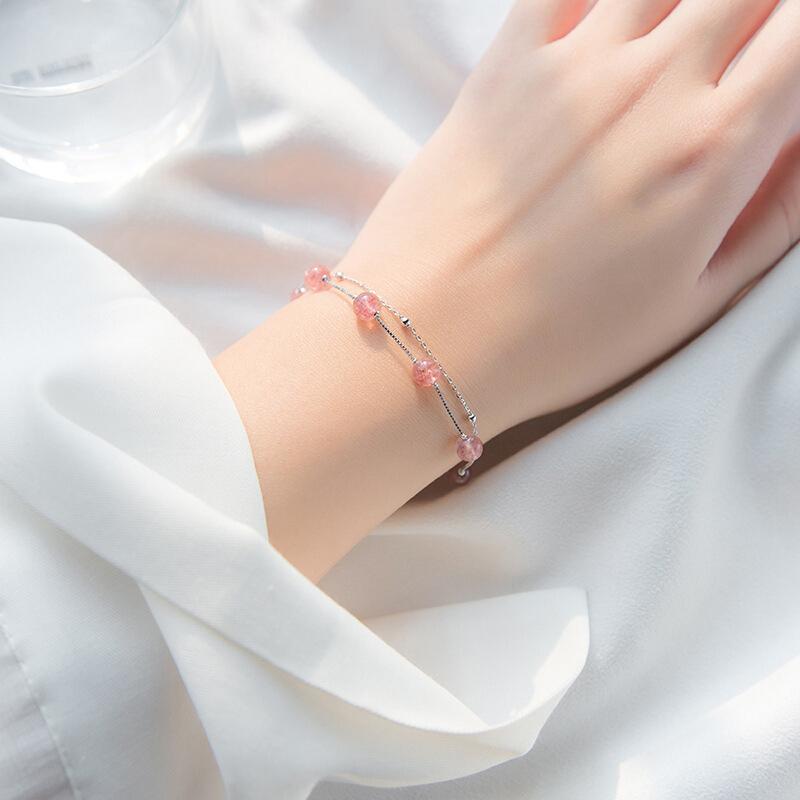 六鑫珠宝 天然草莓晶双层手链 文艺小清新 | 甜美百搭,精致猪猪女孩 商品图2