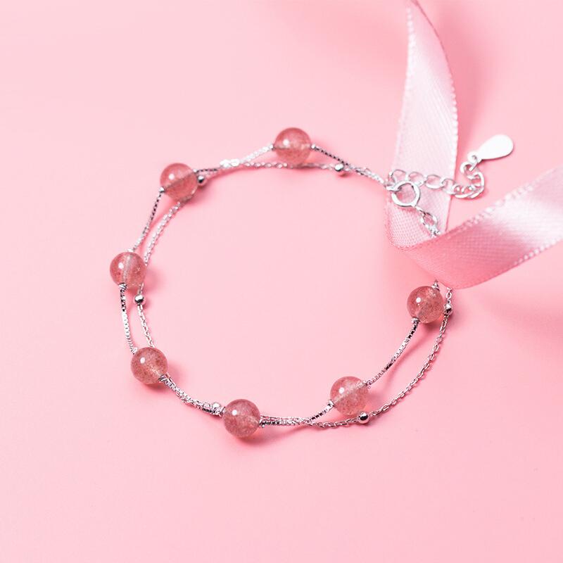 六鑫珠宝 天然草莓晶双层手链 文艺小清新 | 甜美百搭,精致猪猪女孩 商品图8