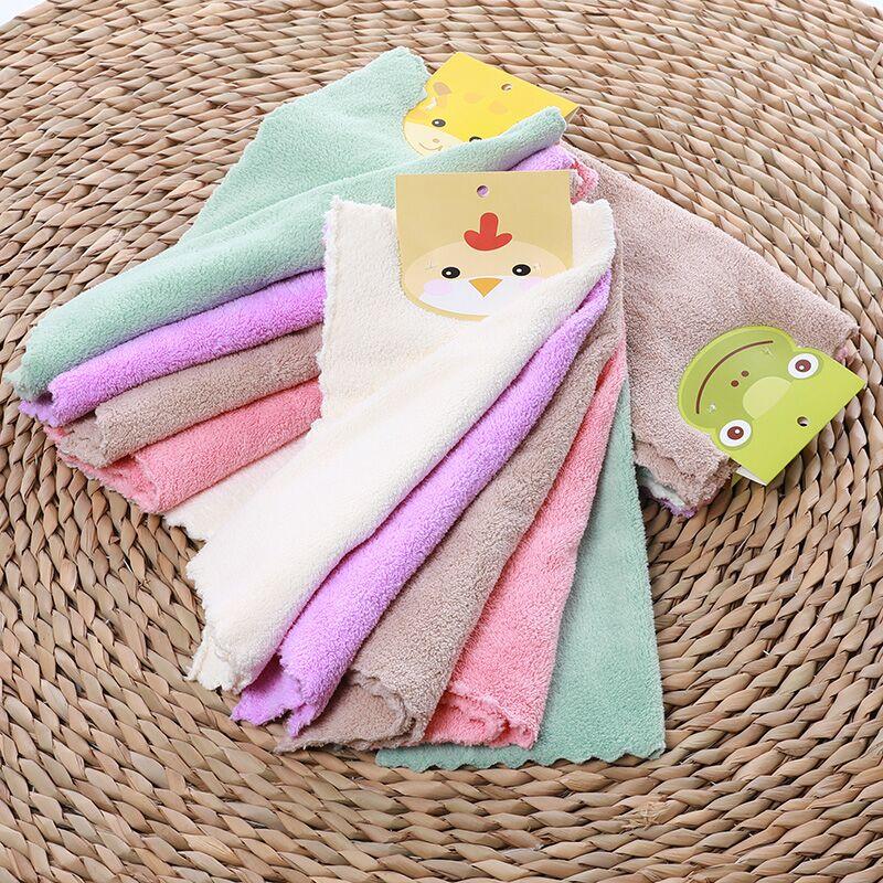 斜月三星 5条装高密珊瑚绒方巾 擦手巾 洗碗巾多功能小毛巾 25*25cm