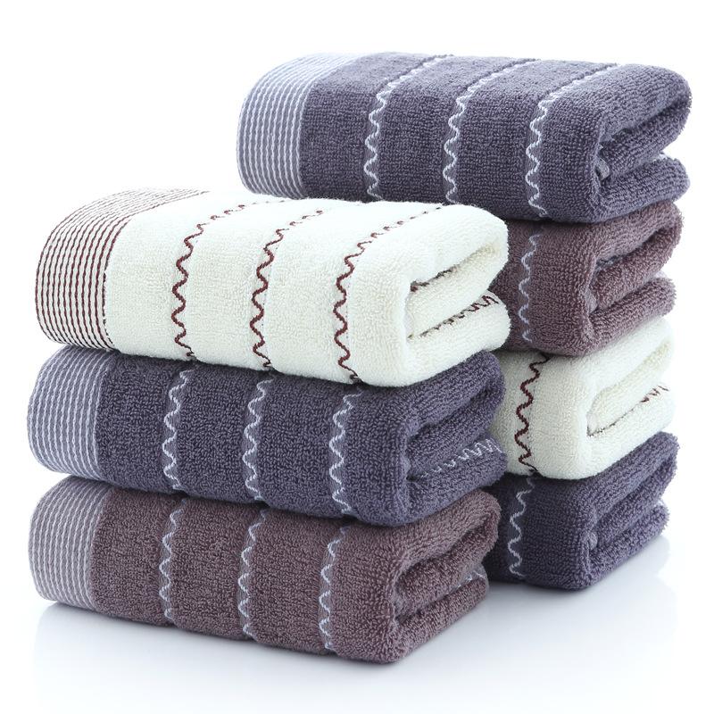 斜月三星 3条装水波纹纯棉加厚毛巾 家用成人洗脸面巾 75*35cm