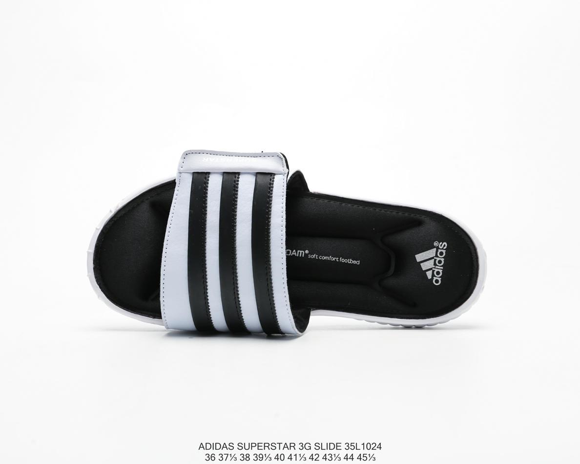 imágenes detalladas boutique de salida nueva precios más bajos 阿迪达斯Adidas Superstar Slide 3G记忆海绵魔术贴休闲时尚百搭拖鞋