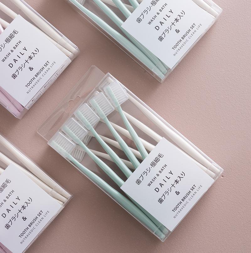 【10支装】马卡龙日系牙刷 防污独立刷头套超细抑jun软毛牙刷家庭组合装 商品图2