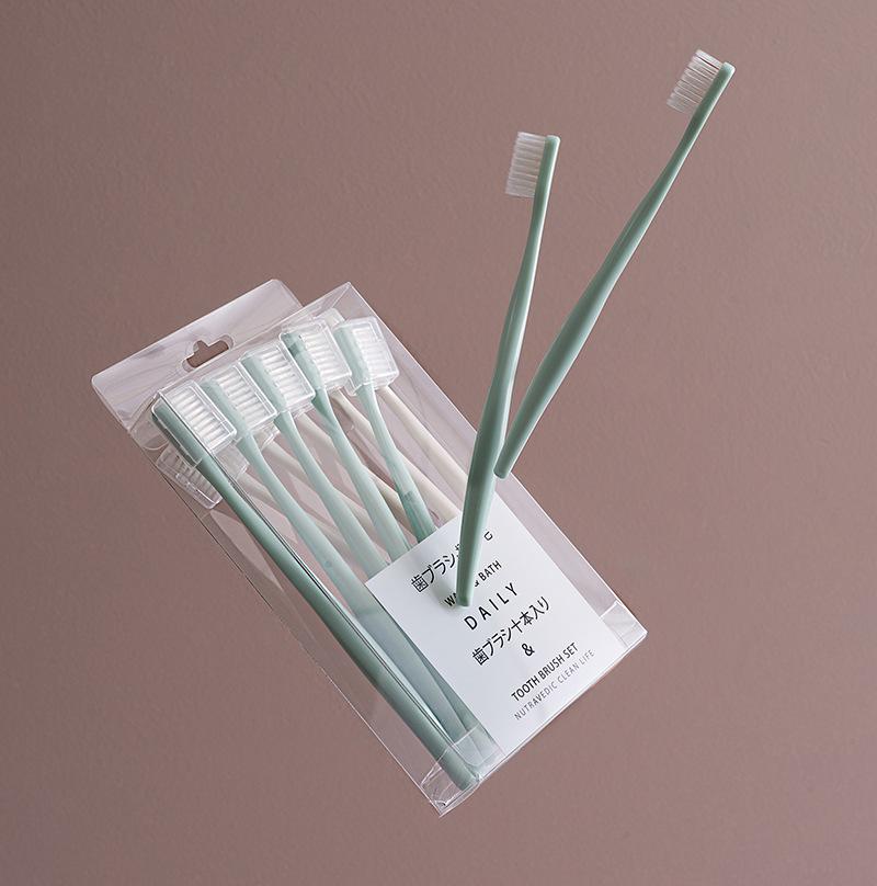 【10支装】马卡龙日系牙刷 防污独立刷头套超细抑jun软毛牙刷家庭组合装 商品图3