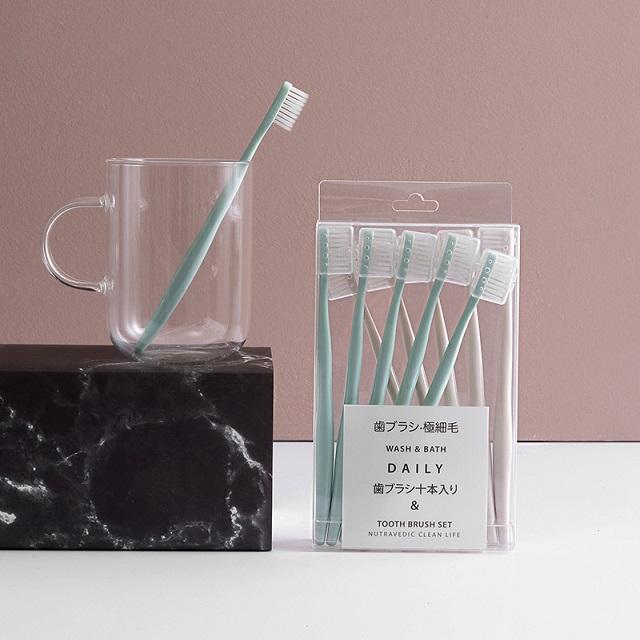 【10支装】马卡龙日系牙刷 防污独立刷头套超细抑jun软毛牙刷家庭组合装 商品图0